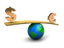 Dollar und Euro auf Skala Lizenzfreies Stockfoto