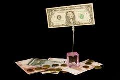 Dollar und Euro getrennt Stockfoto
