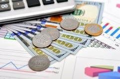 Dollar und Eurocent Stockbild