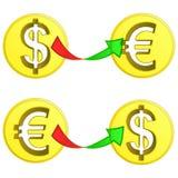 Dollar- und Euromünzenaustauschvektor Stockfotos