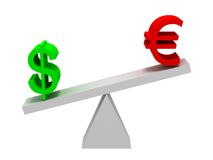 Dollar und Eurosymbol-Balancieren Stockfotos