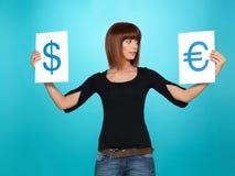 Dollar und Eurosymbole Stockfoto