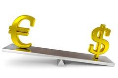 Dollar und Eurozeichen auf Skalen. Stockbild