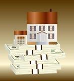 Dollar und Haus Lizenzfreies Stockfoto