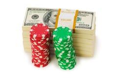 Dollar- und Kasinochip Stockfotos
