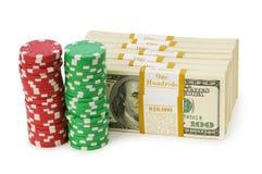Dollar- und Kasinochip-Stapel Lizenzfreies Stockfoto