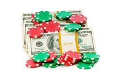 Dollar- und Kasinochip-Stapel Lizenzfreie Stockbilder