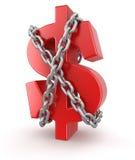 Dollar und Kette (Beschneidungspfad eingeschlossen) Stockfotografie