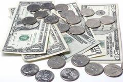 Dollar und Münzen lizenzfreie stockbilder