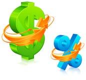 Dollar und Prozente mit Pfeilen Stockbilder