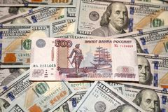 Dollar und Rubel Stockfoto