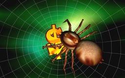 Dollar und Spinne Lizenzfreie Stockbilder