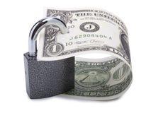 Dollar und Verriegelung Stockbilder