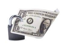 Dollar und Verschluss auf Weiß Stockfotografie