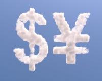Dollar- und Yenformwolken Stockfotografie