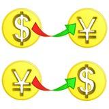 Dollar- und Yenmünzenzeichen-Austauschvektor Stockbilder