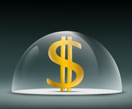 Dollar under a glass dome Stock Photos