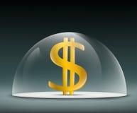Dollar under a glass dome Stock Photos