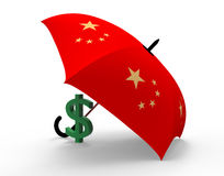 Dollar under umbrella Stock Image