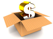 Dollar unpacked Stock Photo