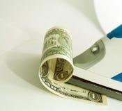 Dollar unter dem Eisen Stockbild