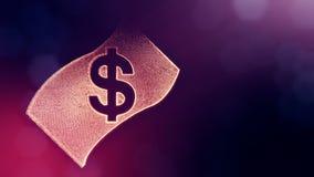 Dollar unterzeichnen herein Emblem der Banknote Finanzhintergrund von leuchtenden Partikeln Animation der Schleife 3D mit Schärfe stock video footage