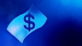 Dollar unterzeichnen herein Emblem der Banknote Finanzhintergrund von leuchtenden Partikeln Animation der Schleife 3D mit Schärfe stock video