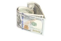 Dollar US bills in heart shape. On white Royalty Free Stock Images