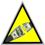 Dollar US En tant qu'avertissement de ceinture de sécurité. Sécurité d'affaires Image stock