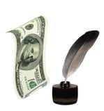Dollar US, Encrier encastré, clavette. Écriture et argent Photos libres de droits