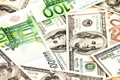 Dollar US et euro Photographie stock