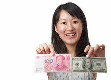Dollar US Ou yuan chinois Photographie stock