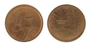 Dollar US-Sacagawea getrennt auf Weiß Lizenzfreie Stockfotografie
