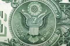 1 Dollar USA, an eagle, for a background. Macro Royalty Free Stock Image