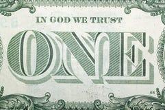 1 Dollar USA, ONE. Macro Stock Photos