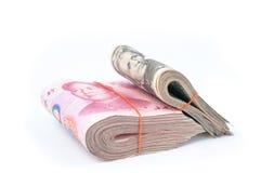 Dollar USA and RMB Chinese Stock Image
