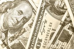 Dollar 100 dollar, dollar USA, sedlar som är finansiella, pengar, f Royaltyfria Bilder