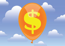 Dollar value. Concept. Balloon flying among the clouds Stock Photography