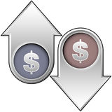 Dollar Value Indicators. A 3d illustration showing arrows indicating the increasing or decreasing value of a Dollar, isolated on a white background Stock Images