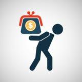 Dollar van de crisisbesparingen van de silhouetmens de financiële Stock Foto's