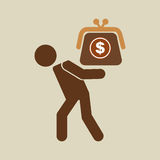Dollar van de crisisbesparingen van de silhouetmens de financiële Royalty-vrije Stock Afbeeldingen