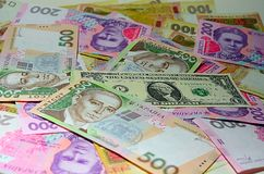 Dollar van Oekraïense Hryvnia van de V.S. en Stock Afbeelding