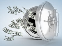 Dollar and vault door Royalty Free Stock Image