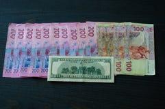 Dollar in vergelijking met Oekraïense hryvnia Oekraïense Hryvnia Royalty-vrije Stock Afbeelding