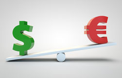 Dollar versus euro Royalty Free Stock Photo