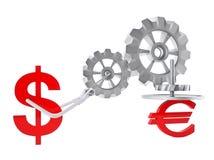 Dollar versus Euro Royalty-vrije Stock Afbeelding