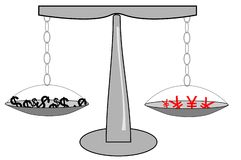 Dollar versus Yen or Yuan Stock Images
