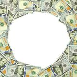 Dollar vignette 1:1. Frame made ​​of one hundred dollar bills Royalty Free Stock Photo