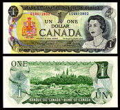 1 dollar 1973 vintage canadian money. 1 dollar vintage canadian money young queen Elizabeth Stock Photography