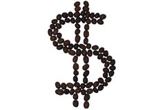 Dollar von den Kaffeebohnen Stockbilder